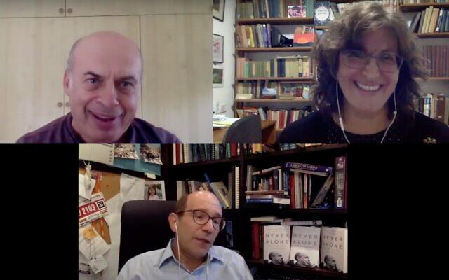 Clockwise from top left: Former Prisoner of Zion Natan Sharansky, ToI Jewish World editor Amanda Borschel-Dan, and historian Gil Troy, discuss the new book, 'Never Alone.' (screenshot)