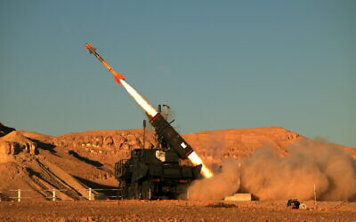 A SPYDER surface-to-air missile is fired in a test in an undated photograph. (Rafael Advanced Defense Systems Ltd.)