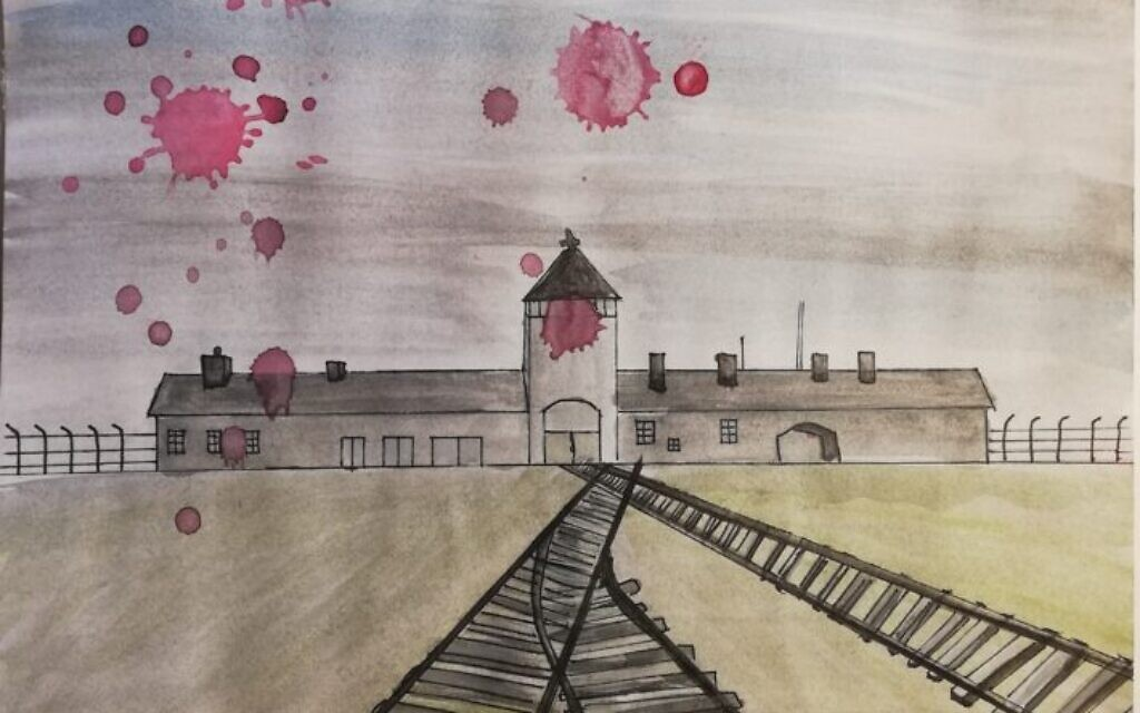 'The Iron Road of Death,' a Romanian student's submission to TOLI's online art exhibit in 2020 (courtesy)