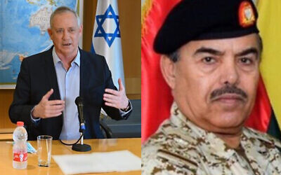 Composite image shows, at left, Defense Minister Benny Gantz in Tel Aviv, August 18, 2020, and at right, Bahraini Minister of Defense Affairs, Abdullah bin Hassan al-Nuaimi, in an undated photograph. (Ariel Hermoni/Defense Ministry, Bahrain News Agency)