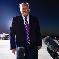 US President Donald Trump speaks about the death of Supreme Court Justice Ruth Bader Ginsburg after a campaign rally at Bemidji Regional Airport in Bemidji, Minnesota, September 18, 2020. (AP Photo/Evan Vucci)