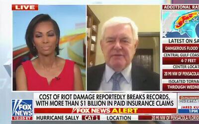 Harris Faulkner, left, and former House Speaker Newt Gingrich on Fox News, Sept. 16, 2020. (Screenshot via JTA)