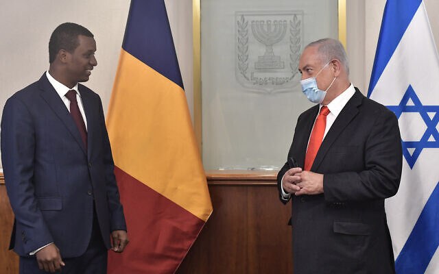 Prime Minister Benjamin Netanyahu meets with Abdelkerim Déby, Chad's cabinet chairman and its president's son, in Jerusalem on September 8, 2020. (Kobe Gideon/GPO)