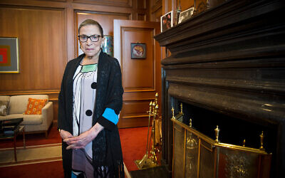 Justice Ruth Bader Ginsburg is seen in her chambers at the Supreme Court in Washington, July 31, 2014. (AP Photo/Cliff Owen, File)