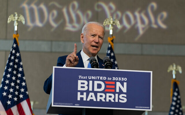 Democratic presidential candidate and Joe Biden speaks about the Supreme Court in Philadelphia, September 20, 2020. (AP Photo/Carolyn Kaster)
