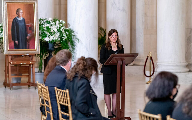 Rabbi Lauren Holtzblatt speaks during a private ceremony for Justice Ruth Bader Ginsburg at the Supreme Court in Washington, September 23, 2020. (AP Photo/Andrew Harnik, Pool)