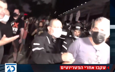 Anti-Netanyahu protesters disrupt a broadcast by Channel 20 at Habima Square in Tel Aviv, September 29, 2020. (Screenshot: Twitter)