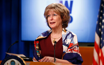 Deputy administrator of USAID Bonnie Glick during a briefing on the Women's Global Development and Prosperity initiative, August 11, 2020, at the US State Department in Washington. (AP Photo/Patrick Semansky)