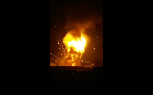 Screenshot from a video said to show a large explosion at a Jordanian army base near the capital, Amman, September 11, 2020. (Screenshot/Twitter)