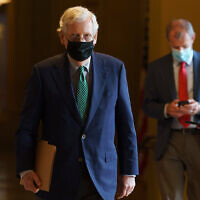 Senate Majority Leader Mitch McConnell of Kentucky walks to the Senate floor, September 14, 2020, on Capitol Hill in Washington. (AP Photo/Jacquelyn Martin)