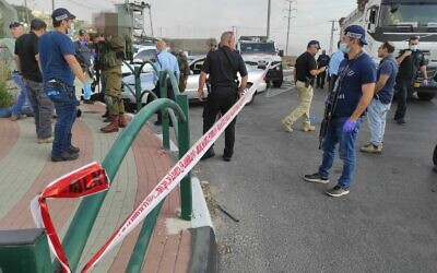 Police and emergency services respond to a suspected car-ramming attack in the northern West Bank on September 2, 2020. (Israel Police)