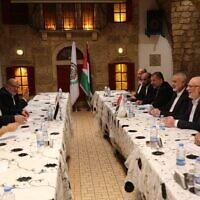 Hamas chief Ismail Haniyeh meets with Palestinian Islamic Jihad leader Ziyad al-Nakhalah in Beirut on September 2, 2020 (Credit: al-Resalah)