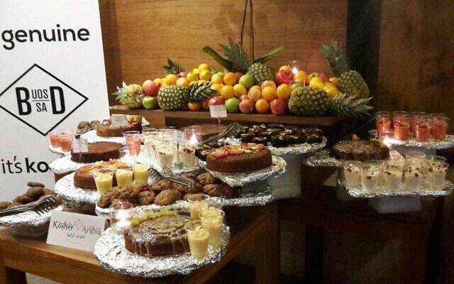 Kosher food, prepared by Baker and Spice, that was served to a delegation of the Conference of Presidents of Major American Jewish Organizations visiting Abu Dhabi in February 2018. It was certified as kosher by the South African UOS (courtesy)