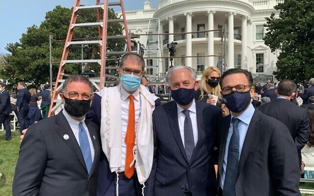 From left to right: Jewish leaders Rabbi Bruce Lustig, Rabbi Yehuda Sarna, Eric Fingerhut and Ross Kriel, at the White House peace ceremony, September 15, 2020 (courtesy)