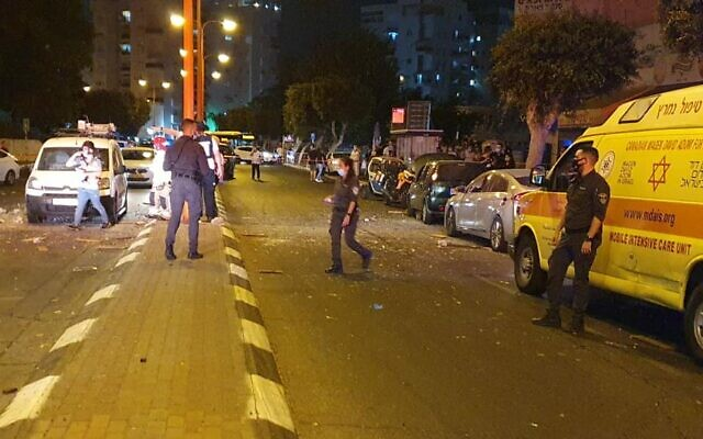 Emergency services respond to a rocket attack from the Gaza Strip in the city of Ashdod on September 15, 2020. (Magen David Adom)