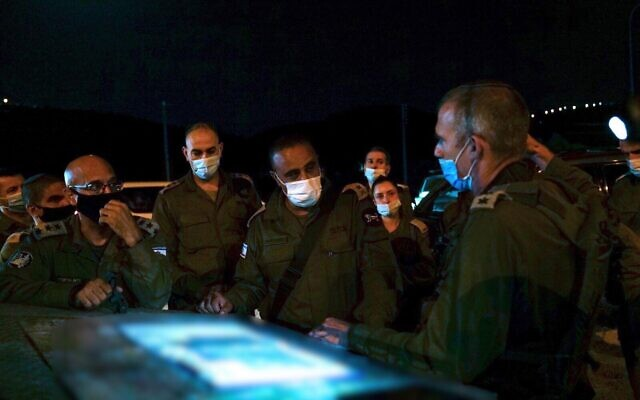 Head of the Central Command Tamir Yadai and senior officers from the IDF's Judea and Samaria Division take part in a surprise exercise simulating a kidnapping in the West Bank in September 2020. (Israel Defense Forces)