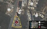 The location of an alleged Hezbollah arms depot next to a mosque in the Chouaifet neighborhood of Beirut, as claimed by the Israel Defense Forces on September 29, 2020 (Israel Defense Forces)