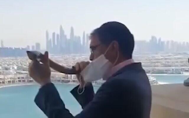 Yehuda Sarna, Chief Rabbi of the United Arab Emirates, blows the shofar in Dubai, September 18, 2020 (video screenshot)