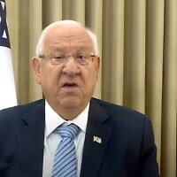 President Reuven Rivlin in a Rosh Hashanah message to Jews around the world, September 17, 2020 (video screenshot)