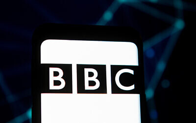 A BBC logo displayed on a smartphone. (Photo Illustration by Mateusz Slodkowski/SOPA Images/LightRocket via Getty Images via JTA)