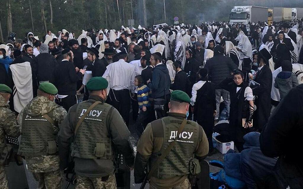 Belarusian soldiers guard the border to Ukraine against hundreds of Jewish pilgrims on Sept. 15, 2020. (Courtey of Shahar Eliyahu via JTA)