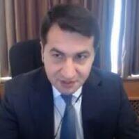 Hikmet Hajiyev, assistant to the president of Azerbaijan, in an interview September 20, 2020 (screenshot: Walla)