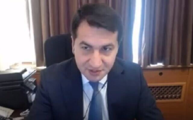 Hikmet Hajiyev, assistant to the president of Azerbaijan, in an interview September 20, 2020 (screenshot: Walla)