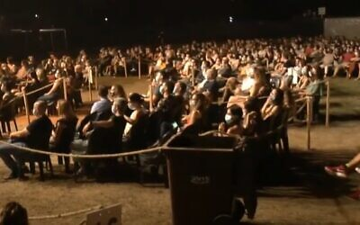 A photo of the socially distanced audience at an Idan Raichel concert in Tel Aviv September 12, 2020. (Screengrab: YouTube)