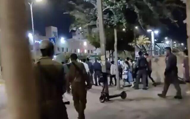 A protest in Modiin Illit on September 29, 2020 (screen capture via Twitter)
