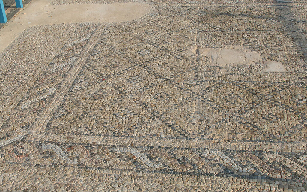 A Roman-era mosaic floor in Ashkelon's archaeological garden. (Shmuel Bar-Am)