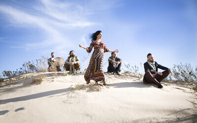 Members of the band Yamma, including singer Talya G.A Solan (center), Yonnie Dror, Aviv Bahar, Nur Bar Goren, and Avri Borochov. Solan has found new audiences for music based on ancient Hebrew texts through YouTube (Ruth Luar)