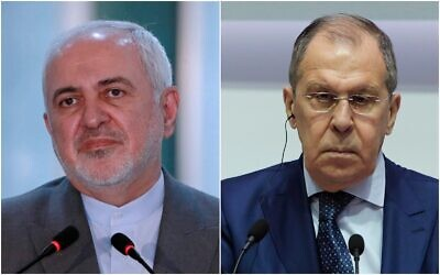 Photo composite: Iranian Foreign Minister Mohammad Javad Zarif (L) and Russian Foreign Minister Sergey Lavrov (Hadi Mizban, Petros Karadjias/AP Photos)