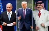 Photo collage: Prime Minister Benjamin Netanyahu (L) at a press conference about the Israel-UAE peace accords, in Jerusalem on August 30, 2020; US President Donald Trump (C) arrives on the south lawn of the White House on September 11, 2020; and Bahrain's King Hamad bin Isa Al Khalifa at the Royal Windsor Horse Show in Windsor, England on May 10, 2019. (Andrew Matthews, Andrew Harnik, Debbie Hill/AP)