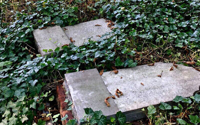 Toppled headstones at the Jewish cemetery of Zabrze, Poland on September 11, 2020. (Dariusz Walerjański via JTA)