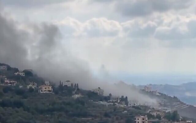 Smoke billows in the Lebanese village of Ain Qana after an unexplained explosion, September 22, 2020. (Twitter screen capture)