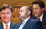 Three Jewish candidates on US President Donald Trump's list of potential appointees to replace the late Justice Ruth Bader Ginsburg on the Supreme Court: (Left to right) Ambassador Christopher Landau (State Department Official Portrait); David Stras (Getty Images); and Steven Engel (Mark Wilson/Getty Images). Background: Supreme Court Building (Wikimedia Commons). Collage via JTA.