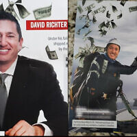 A series of mailers show New Jersey Republican congressional candidate David Richter clutching or surrounded by $100 bills. (Screenshots/via JTA)