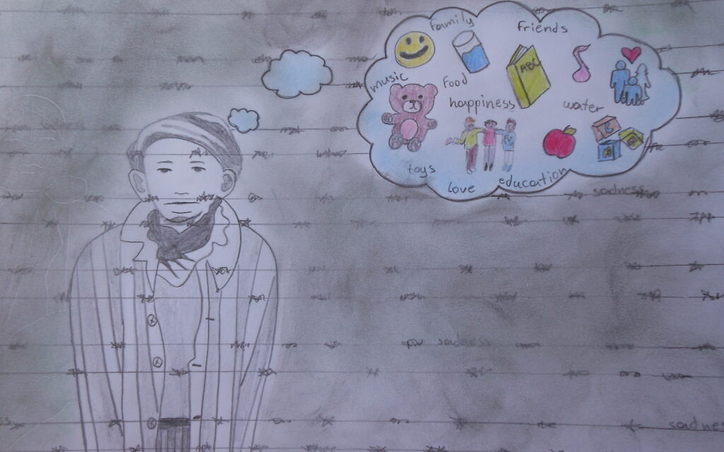 A student in Greece reflected on the Nazi persecution of Jewish children in an entry to TOLI's 2020 online art exhibit (courtesy)