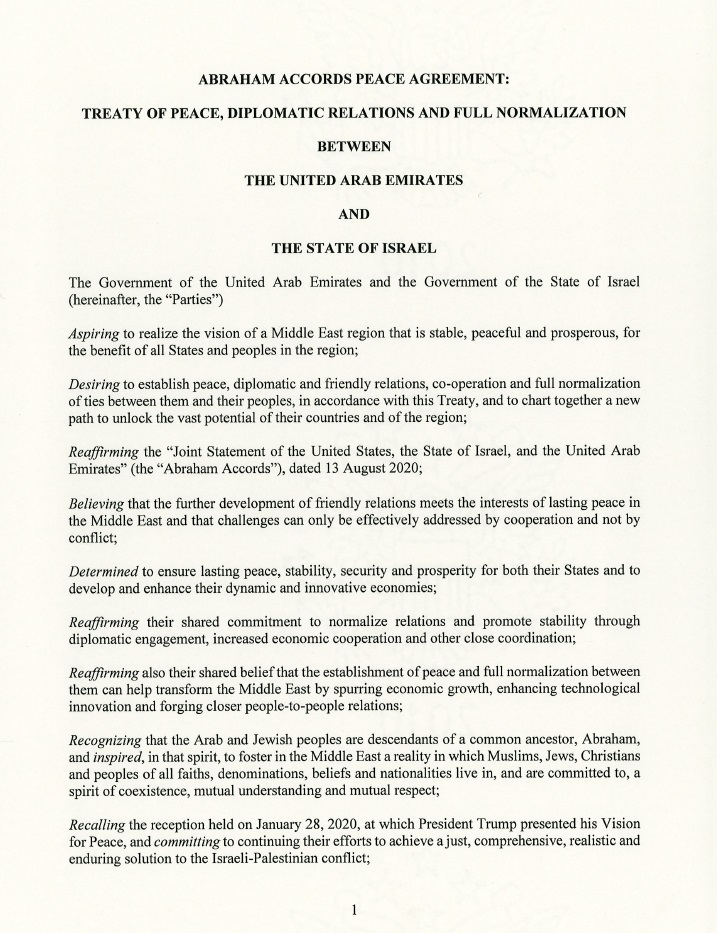 Full text of the peace declaration between Israel and the UAE (White House)