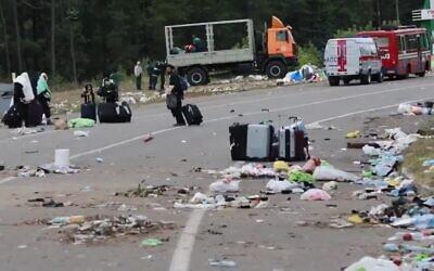 Trash left on the Belarus-Ukraine border after a standoff over the entry of Jewish pilgrims, September 18, 2020 (Screen grab)