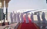 UAE delegates wave to the departing El Al plane at the end of Israel-UAE normalization talks in Abu Dhabi, September 1, 2020. (El Al Spokesperson's Office)