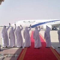 UAE delegates wave to the departing El Al plane at the end of Israel-UAE normalization talks in Abu Dhabi, September 1, 2020. (El Al Spokesperson's Office)