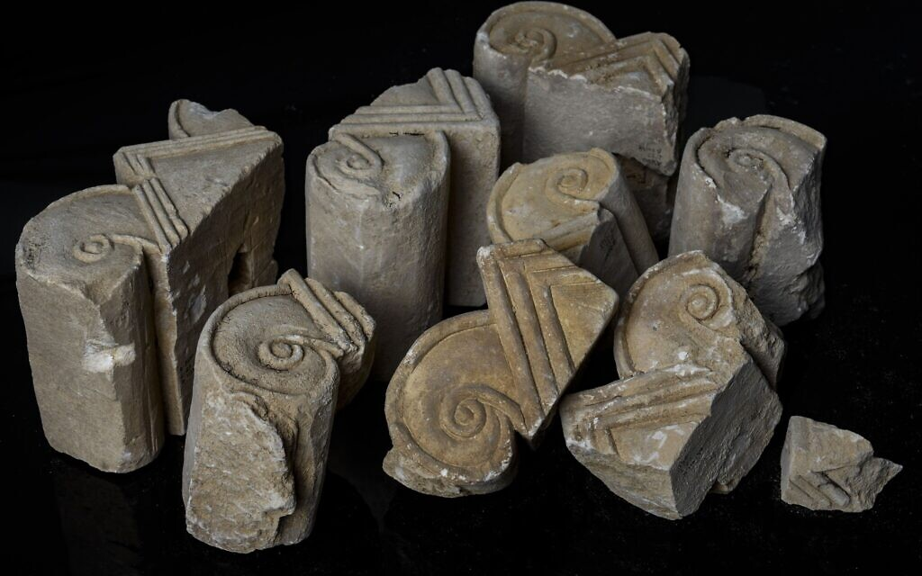 Column heads dating back to First Temple era (Shai Halevi, Israel Antiquities Authority)