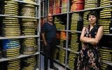 Hila Avraham (right) and Meir Russo, director of the archives, in the Jerusalem Cinematheque archives, now digitized for general use (Courtesy Jerusalem Cinematheque)