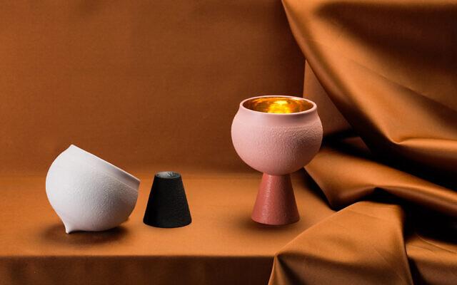 Shira Keret's porcelain kiddush cup for the 2020 Fresh Paint art fair (Courtesy Daniel Schechter)