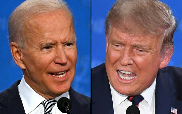 This combination of pictures created on September 29, 2020 shows Democratic Presidential candidate and former US Vice President Joe Biden (L) and US President Donald Trump speaking during the first presidential debate at the Case Western Reserve University and Cleveland Clinic in Cleveland, Ohio on September 29, 2020. (JIM WATSON and SAUL LOEB / AFP)