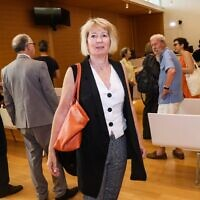 In this file photo taken on June 25, 2019, plaintiff Claire Gimpel arrives in the Paris appeals court courtroom for the opening of a trial with members of her family, descendants of Jewish art collector Rene Gimpel, who filed suit against the state for restitution of three Andre Derain paintings looted during WWII in Paris. (Jacques DEMARTHON/AFP)