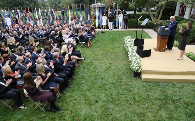 In this photo taken on September 26, 2020 US President Donald Trump announces 7th US Circuit Court Judge Amy Coney Barrett (R) as his nominee to the Supreme Court in the Rose Garden at the White House in Washington, DC. (CHIP SOMODEVILLA / GETTY IMAGES NORTH AMERICA / AFP)