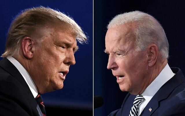 This combination of file pictures created on September 29, 2020, shows US President Donald Trump (L) and Democratic candidate Joe Biden squaring off during the first presidential debate at the Case Western Reserve University and Cleveland Clinic in Cleveland, Ohio. (Jim Watson and Saul Loeb/AFP)