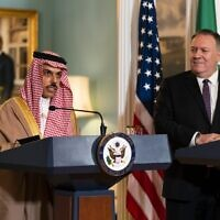 US Secretary of State Mike Pompeo, right, listens to Saudi Minister of Foreign Affairs Prince Faisal bin Farhan Al Saud during their meeting at the State Department, October 14, 2020, in Washington, DC. (Manuel Balce CENATA / POOL / AFP)